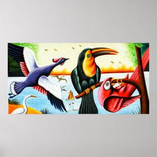 Rickshaw Art Birds Poster