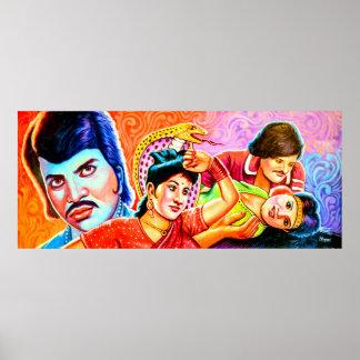 Rickshaw Art traditional actors Poster