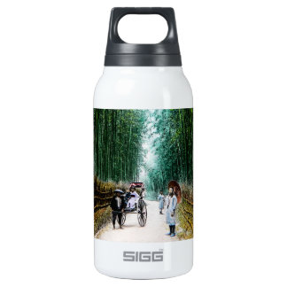Rickshaw on the Road to Kyoto Japan Vintage Insulated Water Bottle