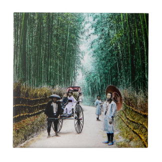 Rickshaw on the Road to Kyoto Japan Vintage Tile