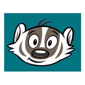 Ricky Raccoon   Boomer Badger Face Postcard