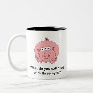 Riddle Mug: Pig with Three Eyes Two-Tone Coffee Mug