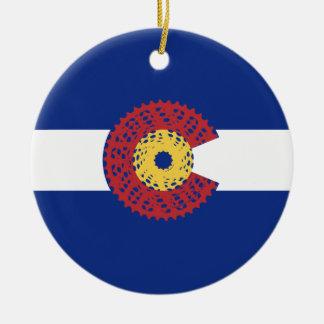 Ride Colorado (Bicycle Cassette) Ceramic Ornament