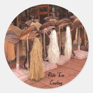 Ride 'Em Cowboy Round Sticker