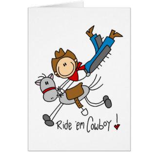 Ride 'Em Cowboy Stick Figure Card
