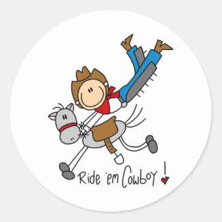 Ride 'Em Cowboy Stick Figure Sticker