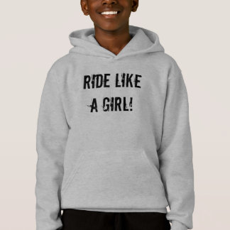 """Ride Like A Girl!"" Grey Youth Sledders.com Hoodie"