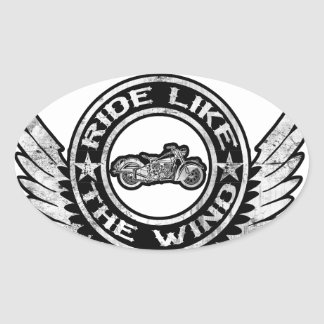Ride like the wind oval sticker