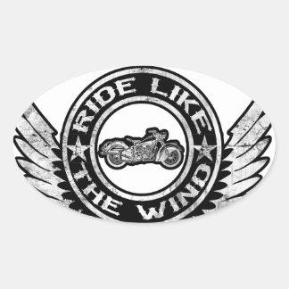 Ride like the wind oval sticker