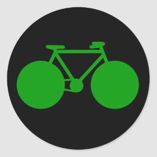 ride on . bicycle green attitude classic round sticker