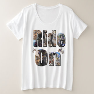 Ride On, Motorbike Picture Logo, Plus Size T-Shirt