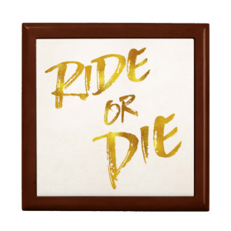Ride or Die Gold Faux Foil Metallic Motivational Gift Box
