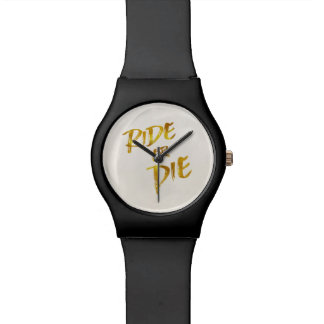 Ride or Die Gold Faux Foil Metallic Motivational Wristwatch