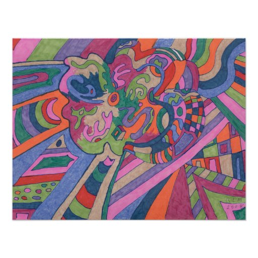 Ride the Groovy Rainbow, abstract Posters