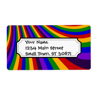Ride the Rainbow Slide Colorful Stripes Shipping Label