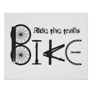 """""""Ride the Trails"""" Bike Word from Parts Poster"""