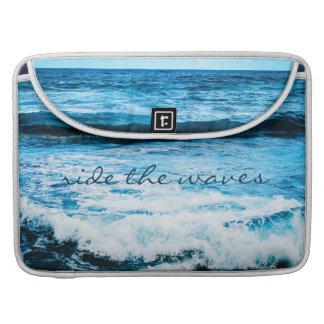 Ride the waves blue ocean photo Macbook Pro sleeve
