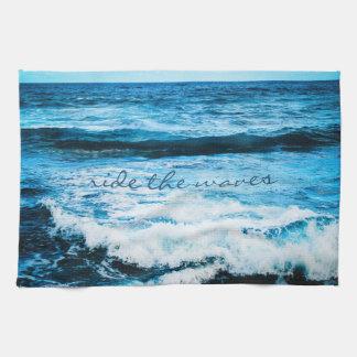 """Ride the Waves"" Hawaii Blue Ocean Photo Kitchen Kitchen Towel"