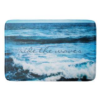 """Ride the Waves"" Quote Hawaii Blue Ocean Photo Bath Mat"