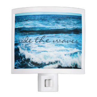 """Ride the Waves"" Quote Hawaii Blue Ocean Photo Nite Lite"