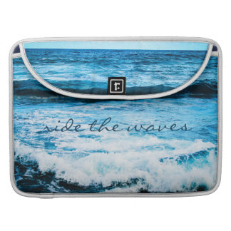 """Ride the Waves"" Quote Hawaii Blue Ocean Photo Sleeve For MacBook Pro"