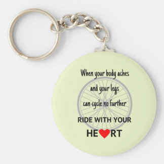 Ride with heart cycling motivational quote green keychain
