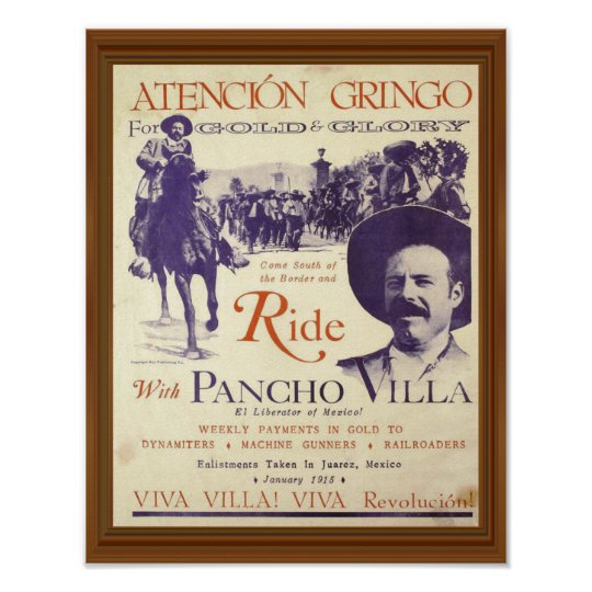 Ride With Pancho Villa Vintage Artwork Poster