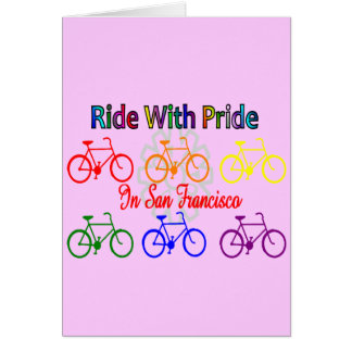 ride with pride SF--Gay Lesbian cyclist Greeting Card