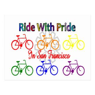 ride with pride SF--Gay Lesbian cyclist Postcard