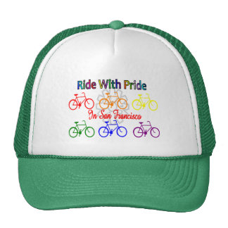ride with pride SF--Gay Lesbian cyclist Trucker Hat