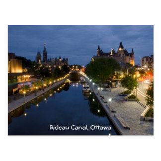 Rideau Canal and Sussex Drive at night. Postcard