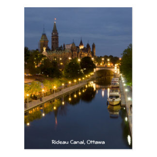 Rideau Canal and the Parliament Buildings at Night Postcard