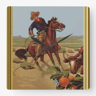 Ride'em cowboy square wall clock