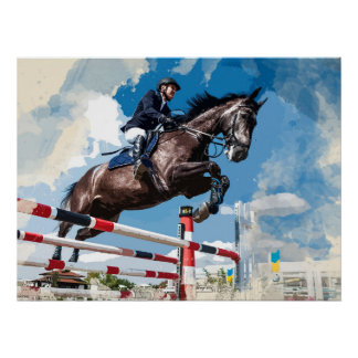 Rider Jumping Horse in Competition Poster