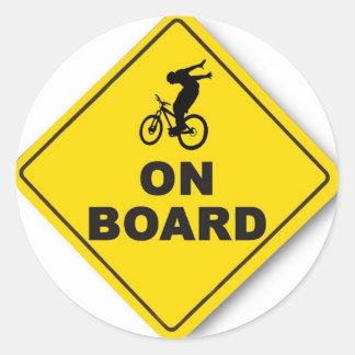 rider on board (round) classic round sticker