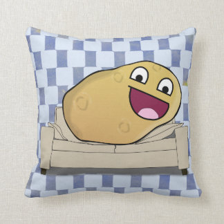 Ridiciously Happy Cartoon Couch Potato Throw Pillow