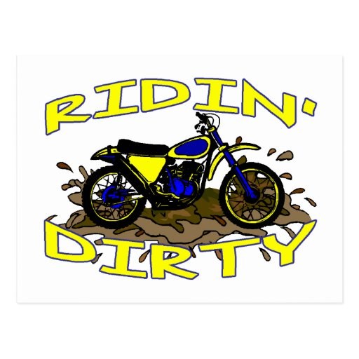 Ridin Dirty Dirt Bike In Mud Post Card