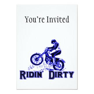 Ridin Dirty Dirt Bike Rider 5x7 Paper Invitation Card