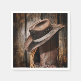Riding Boots and Cowboy Hat Disposable Napkin