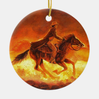 Riding Cowboy Ceramic Ornament