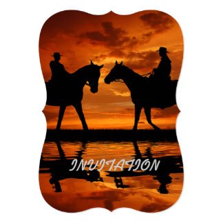 Riding Cowboys in Sunset Card