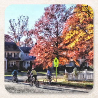 Riding Home From School Square Paper Coaster