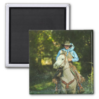 Riding horse through water square magnet