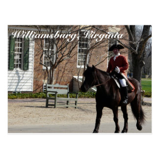Riding horses in Colonial Williamsburg Postcard