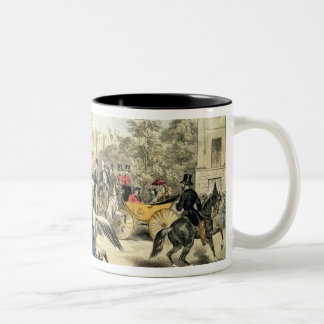 Riding in Rotten Row, Hyde Park Two-Tone Coffee Mug