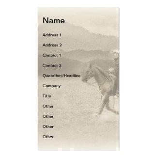 Riding in the Desert Sepia Monogram Business Card