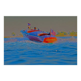 Riding in Wooden Boat Poster