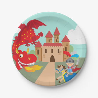 Riding Knight and Red Flying Dragon Paper Plate