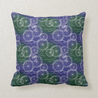 Riding my Bicycle - green and blue repeat pattern Throw Pillow