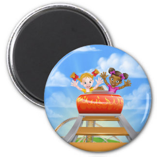 Riding Roller Coaster 2 Inch Round Magnet